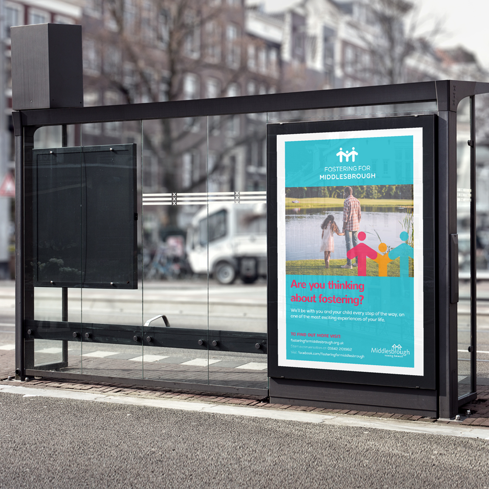 fostering for middlesbrough poster, bus stop