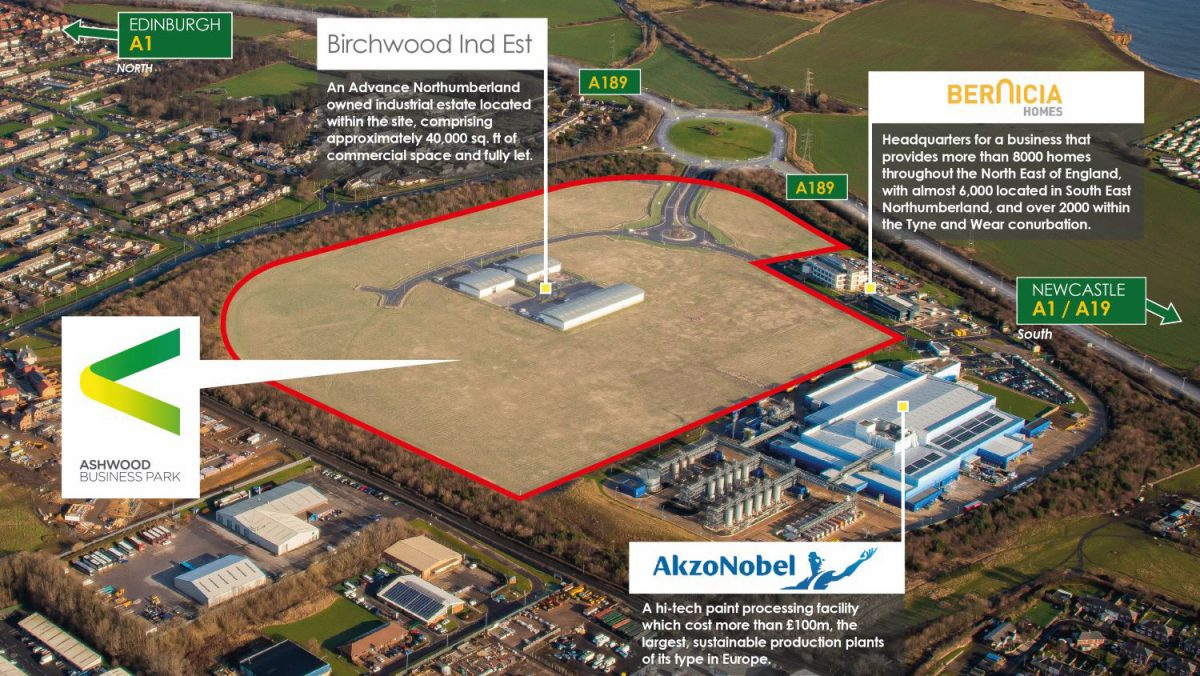 An aerial view of the Ashwood Business Park Masterplan