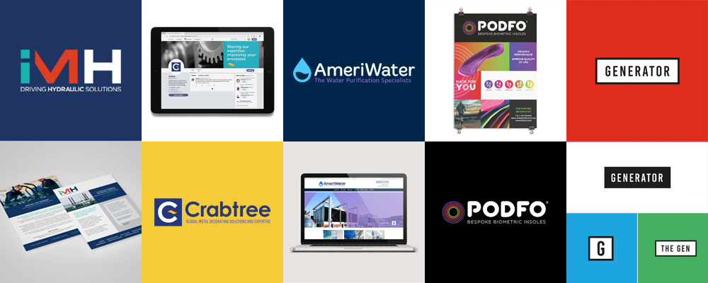 IMH, Crabtree, AmeriWater, Podfo, Generator branding projects