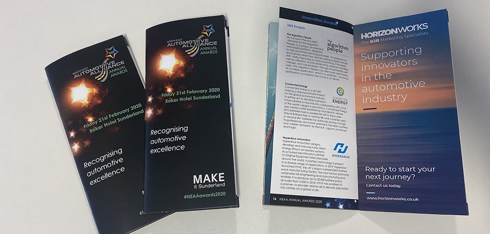 North East Automotive Alliance Awards 2020 Brochure designed by Horizon Works